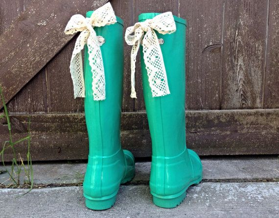 Mint Gloss Rain Boot with Your Choice of by PuddlesNRainBows