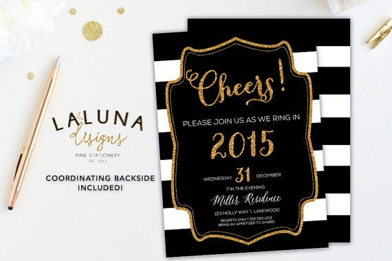 New Years Eve Invitation, New Years Eve Party,  New Years Eve Invites, New Years Invites, New Years Eve Printable, Black White Stripe