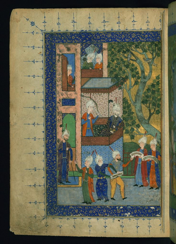 Ḫeyrāt ül-ebrār - This is the left side of a double-page illustrated frontispiece depicting a courtyard scene with a prince receiving gifts. The inscription over the door on the left reads yā Mufattiḥ al-abwāb.