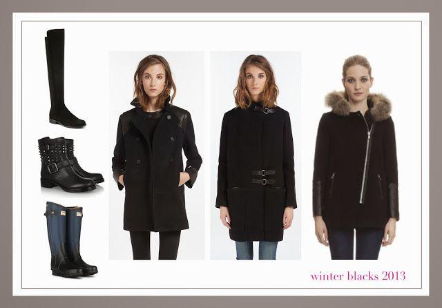 winter blacks 2013, leather detail wool coats, black boots @Valentino @Stuart Weitzman #hunter #rag&bone @Maje #sandro