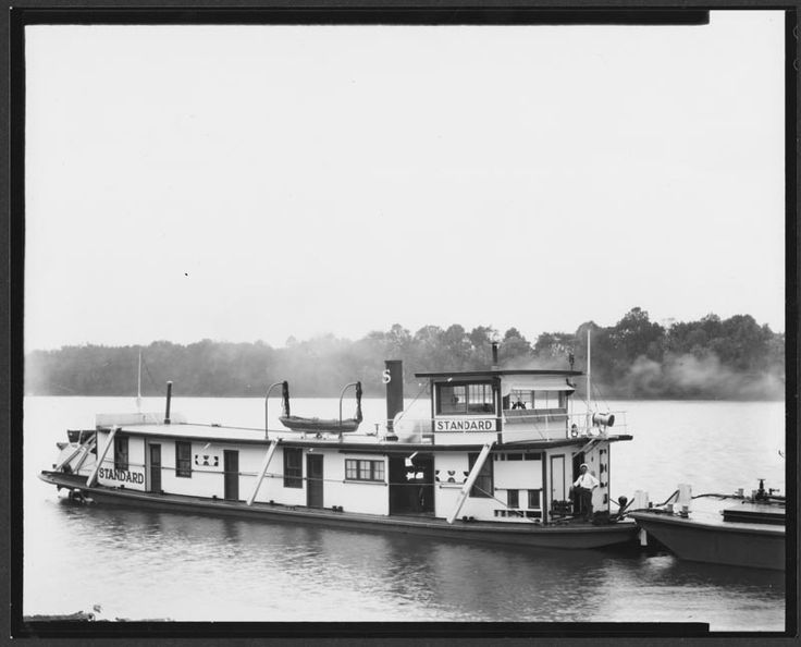 Photograph of the towboat Standard, a sternwheel towboat built in 1923 by the Marietta Manufacturing Company. The Standard was built for Standard Oil of Ohio (SOHIO) for transporting gasoline on the Ohio River. From the Marietta Manufacturing Company Records (#742), East Carolina Manuscript Collection, J. Y. Joyner Library, East Carolina University.