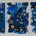Séance de peinture libre avec : Gouache bleu cyan, bleu outremer, et noire. Outils : rouleaux, pinceaux mousse, et carré d'éponge. ...