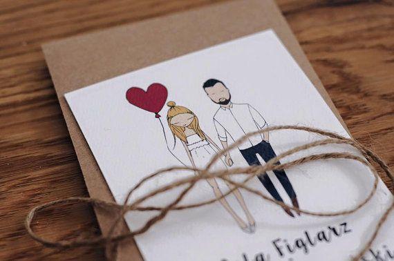 Personalizzato illustrato coppia, inviti matrimonio eccentrico, personalizzati inviti di nozze, illustrazione del ritratto, bespoke invita