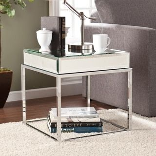 Beautiful Harper Blvd Adelie Mirrored End Table (OS2729), White