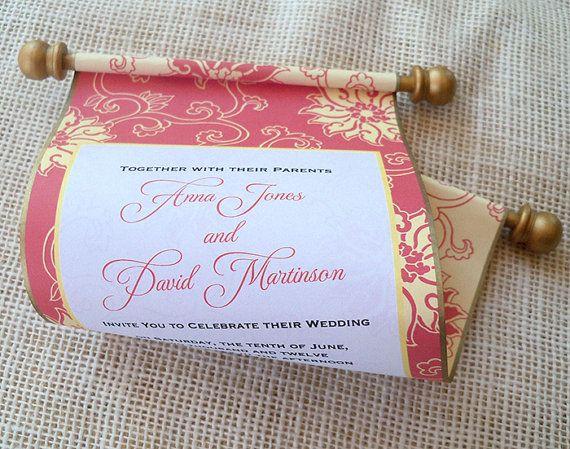 Asian wedding invitation scroll by ArtfulBeginnings