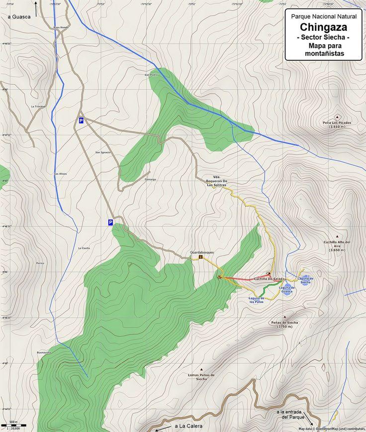 Mapas topográficos de lagunas y cerros