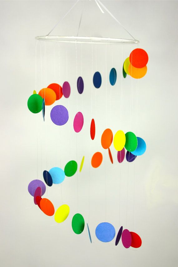 Baby Mobile - Crib Mobile - Nursery Mobile -Rainbow Spiral Whimsy -choose colors / shapes FREE  - featured on Chic & Cheap Nursery