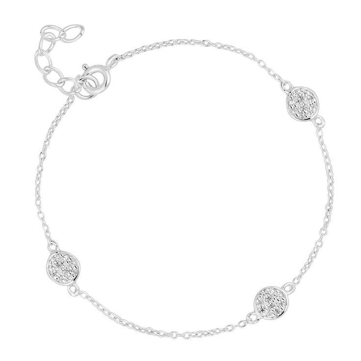 Simply Silver Sterling silver cubic zirconia pave circle bracelet   Debenhams