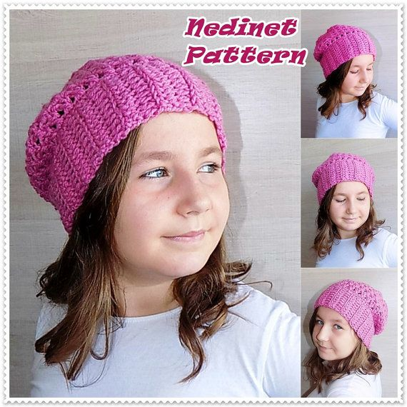Crochet pattern crochet slouchy hat pattern by NedinetPattern