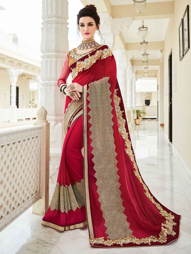 Buy Pink Georgette Saree with Embroidery Work online at Best Price for Women - SAAA18647 - Saree.com
