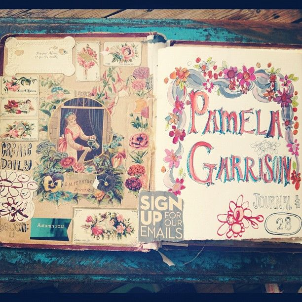 Inside the new journal by pam garrison, via Flickr Lisa says: LOVE Pam Garrison's art, journals and stitching!