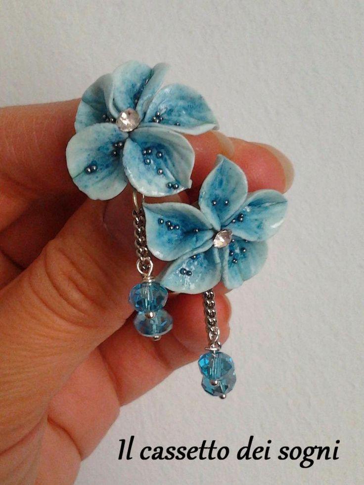 Il cassetto dei sogni: orecchini fiori azzurri / light blue flowers earrings