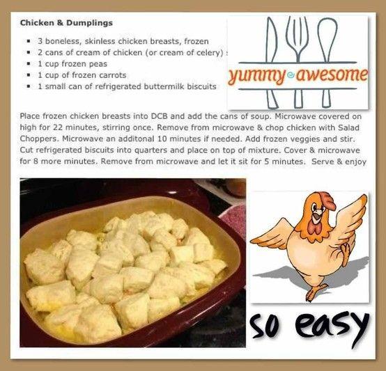 Chicken and Dumplings in deep covered baker
