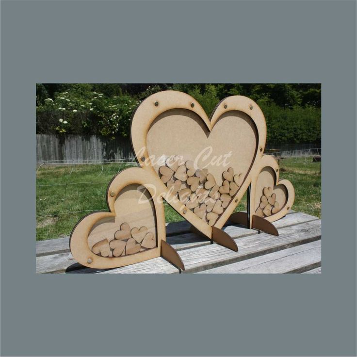 Wedding Guest Book Drop Top Box HEART Alternative Wood + choice to Personalise