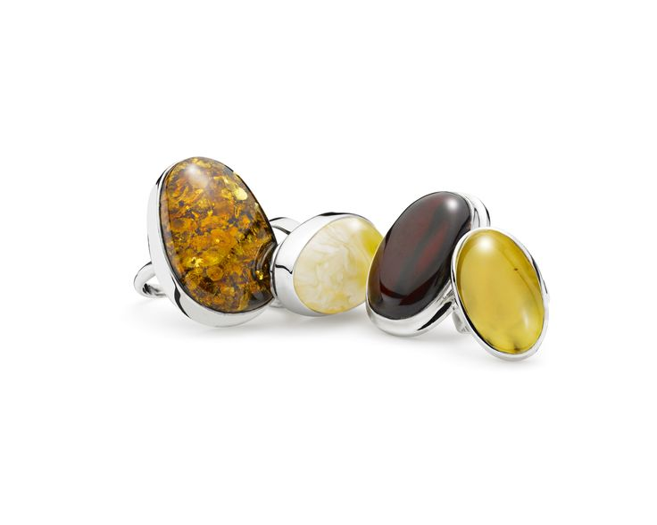 House of Amber - Astonishing silver rings with cognac, milky, cherry amber.