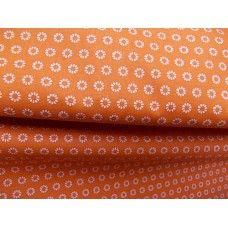 100% BAVLNA - kroužky kytičky oranžové