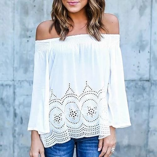 Fashion Sexy Women Off-Shoulder Long Sleeve Hollow Loose Casual Shirt Top New Arrival Hot