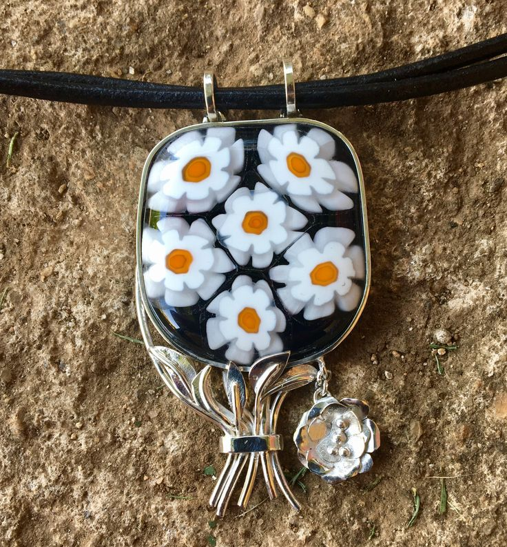 sterling silver pendant with millefiore / dichroic glass