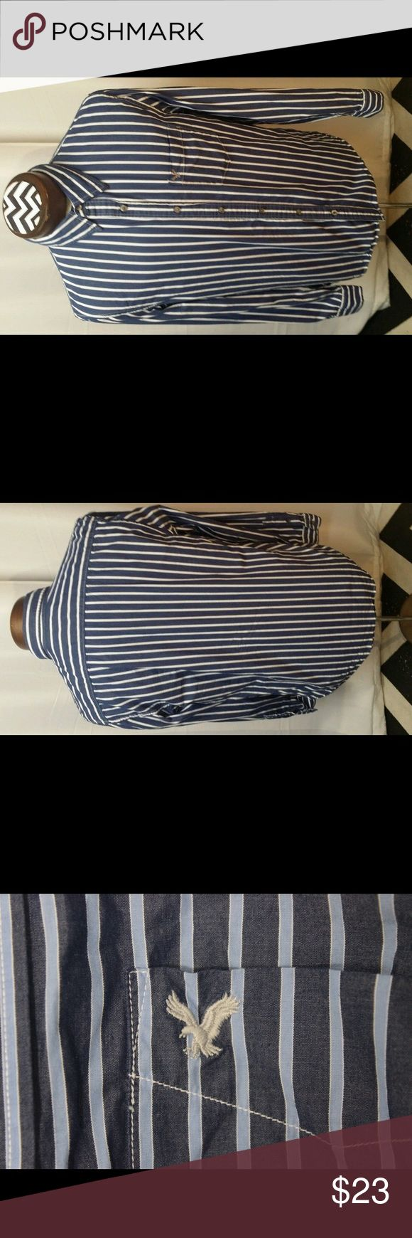 American eagle vintage fit stripe dark blue white You Are Buying American eagle vintage fit stripe dark blue white  It is in great pre-own Condition.  Fast shipping in the USA via USPS.  FEEDBACK: we strive to earn positive 5 star feedback for all items. And we will leave the same for all good buyers.  If you feel we deserve anything less please send us a message before leaving anything less or opening a case and we will fix the issue within 24 hours.   Thank you!!! American Eagle Outfitters…