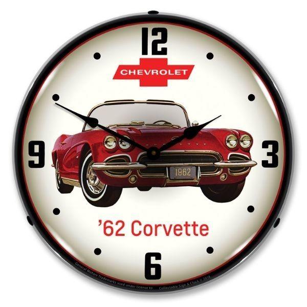 Corvette 1962 Red Vette Wall Clock 14 In 2020 Corvette Clock Wall Clock Light 1962 Corvette