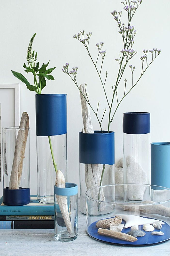 Blue Paint Dipped Vases