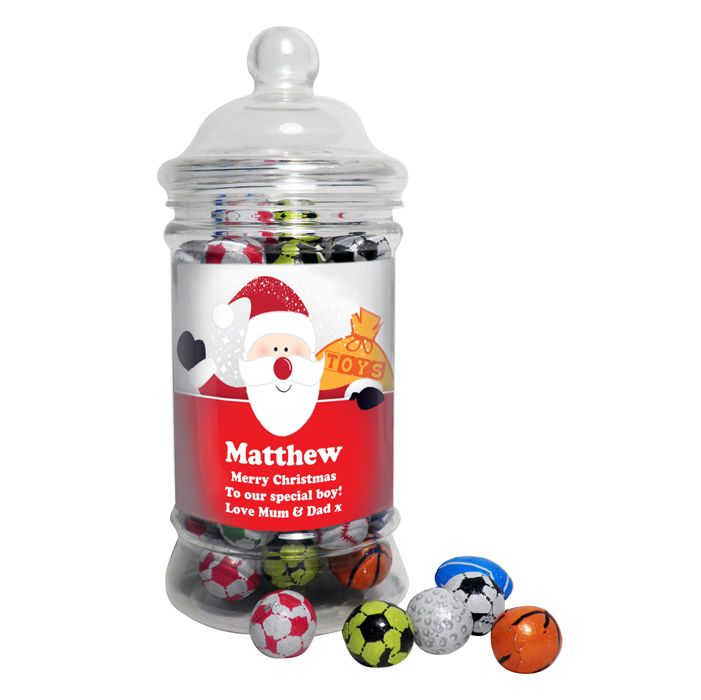 Personalised Santa Traditional Chocolate Balls Jar This classic shaped sweet jar is filled with tasty chocolate sports balls a great stocking filler