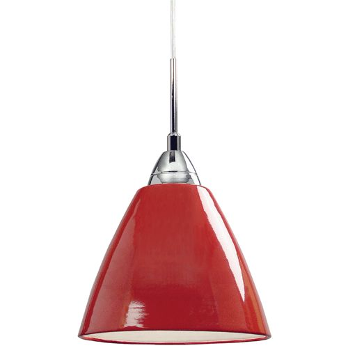 """Read Mini Red Pendant Light - Over the """"bar"""" counter, red in my yellow kitchen"""
