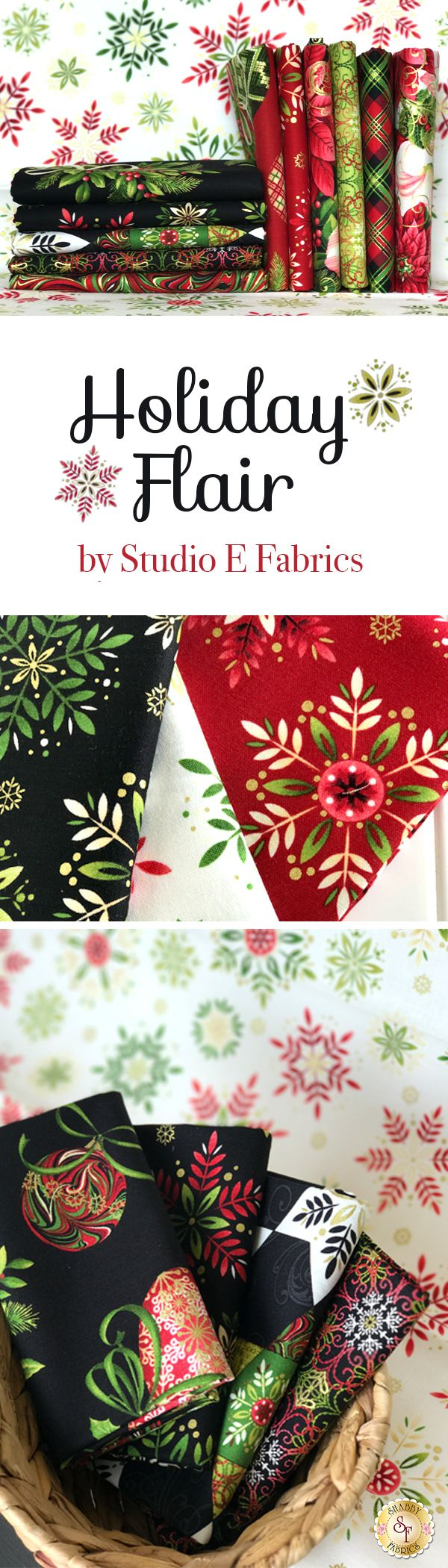 Holiday Flair by Art Loft for Studio E is a Christmas themed fabric collection featuring metallic accents available at Shabby Fabrics!