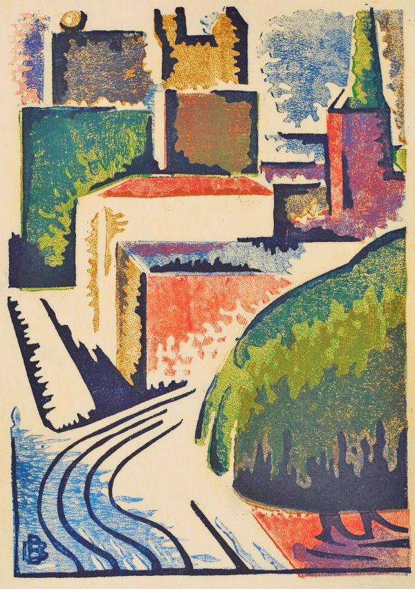 Dorrit Black (1891-1951), Elizabeth Street, Sydney, 1939. colour linocut on thin white paper, 23 x 16.5 cm