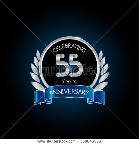 55 years silver anniversary celebration logo with blue ribbon , isolated on dark background