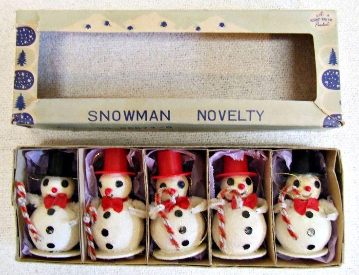 Vintage Box of 5 Shiny Brite Mica Snowman Christmas Ornaments - Japan