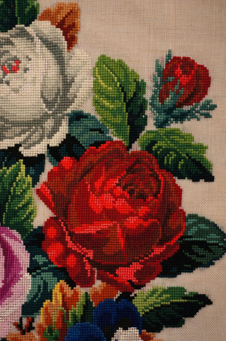 Antique Needlepoint Pillow or Cushion Cover Roses Floral Flower Bouque
