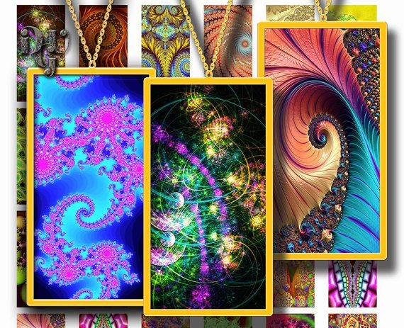 FRACTALS DOMINO Printable 1x2 ech size images by DreamUpGraphic
