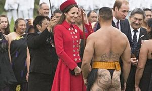 Prince William and Catherine Duchess of Cambridge visit Wellington, New Zealand - 07 Apr 2014 - Kate greets a Maori warrior at the ceremony, in Wellington