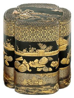 A Three-Tiered Jubako [Food Containter] Edo Period (17th century) Decorated in gold and silver hiramaki-e, takamaki-e and nashiji on a black ground, the top with a pagoda in a rocky moonlit landscape within a kidney-shaped panel bordered by shippo-hanabishi, the other tiers each with a different design of shells, figures in a rural landscape, and plants behind a brushwork fence, red lacquer interior 20cm. high:
