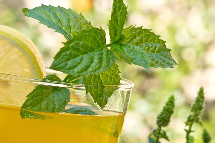 Drink Your Belly Bloat Away, according to Dr.OZ!   Freeze Peppermint Leaves in Lemon Juice in an ice cube tray. Add 3 cubes to every glass of water at least 3 times a day, or with meals.   This and three more tips on how to easily loose the bloat, think I'm going to have to try this!
