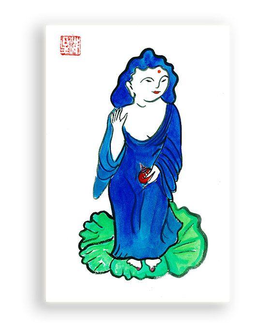 Buddha Kanzeon, Kannon or Kwan Yin, Zen Goddess, Buddhist Fine Zen Brush Painting, Original art, zen decor, japan illustration, feng shui