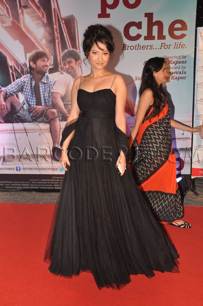 Ankita Lokhande wearing a black prom dress at kai po che premier