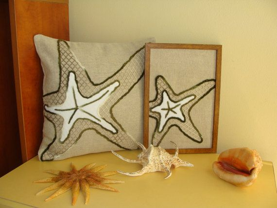 Unique Starfish Pillow Cover and Starfish Tableau, Set, Decorative Pillow, Nautical Throw Pillow Cover, Exclusive Handmade, Sea Life Decor