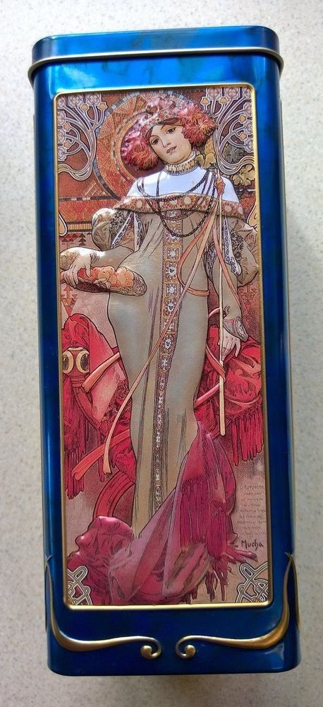 Churchill s Biscuits Embossed Four Seasons Design Tin With Alphonse Mucha Design