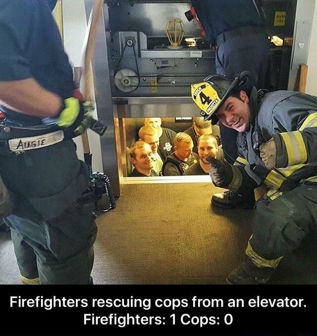 Firefighters Rescuing Cops From An Elevator. http://ibeebz.com