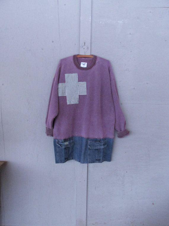 Sweatshirt tunic upcycled clothing X Large 1 by lillienoradrygoods