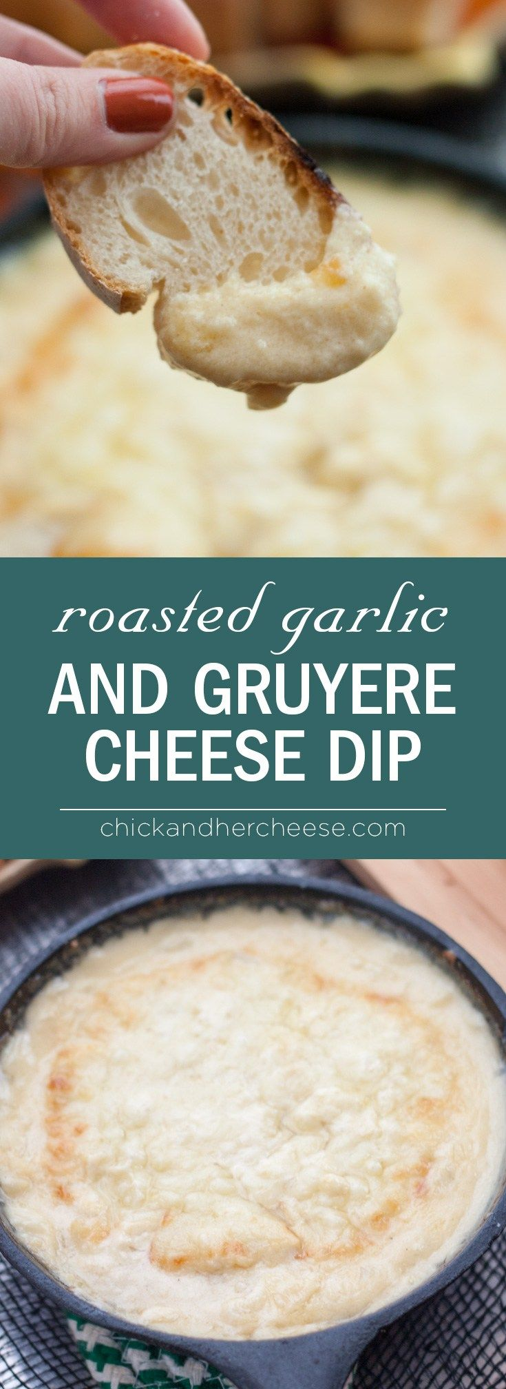 Roasted Garlic and Gruyere Cheese Dip - Super easy, perfect for last minute halloween parties, this tangy and garlicky warm cheese dip is sure to keep the vampires away while also pleasing your guests! I couldn't keep them away.   chickandhercheese.com