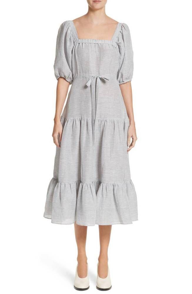 b5e1eb6b199 Co for Neiman Marcus Square-Neck Tiered Stripe Linen Dress L NWT  695