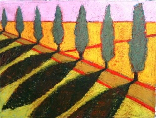 Belgian tree line shadows color, 2011, Gordon Hopkins, Oil on linen, 160cm x 120cm, Belgium.