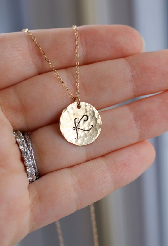 Gold Initial Necklace - Hammered $36.00