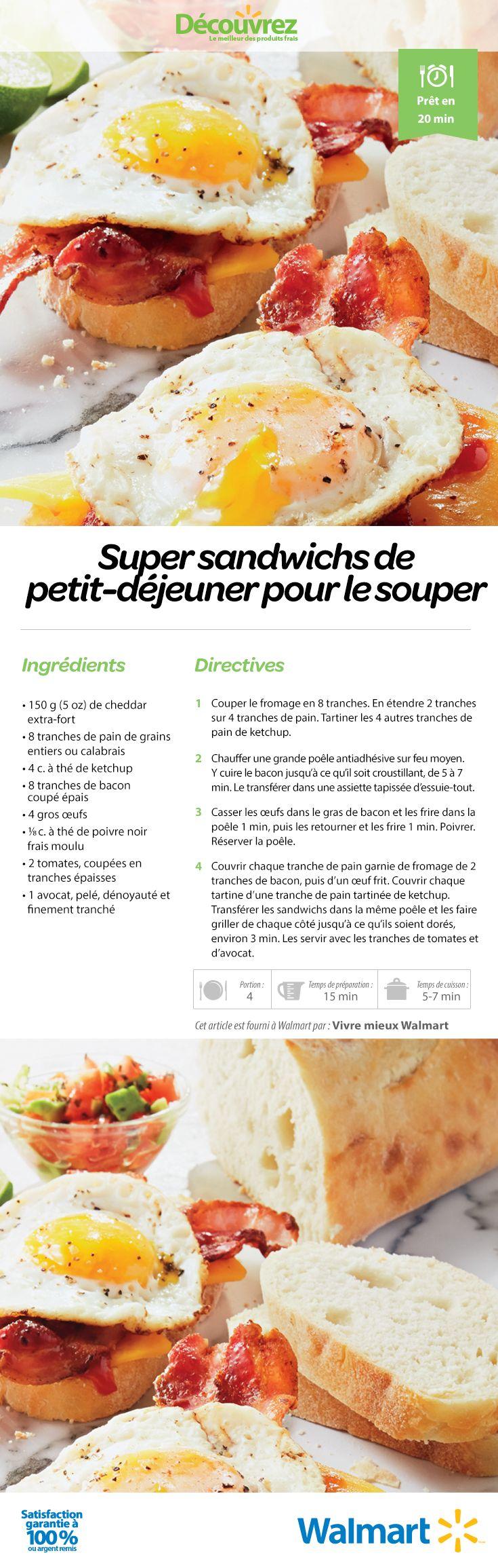 Tout le monde aime manger un déjeuner pour le souper - surtout s'il y a du bacon! Faites cuire un œuf et griller du pain frais et voilà! Le repas est prêt! #DéjeunerPourSouper #RecettesDeSouperFaciles #BaconEtOeufs #IdéesDeRepas #SandwichDéjeuner