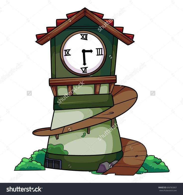 Best Old Cartoon Green Clock Tower With A Spin Stair Vector 640 x 480