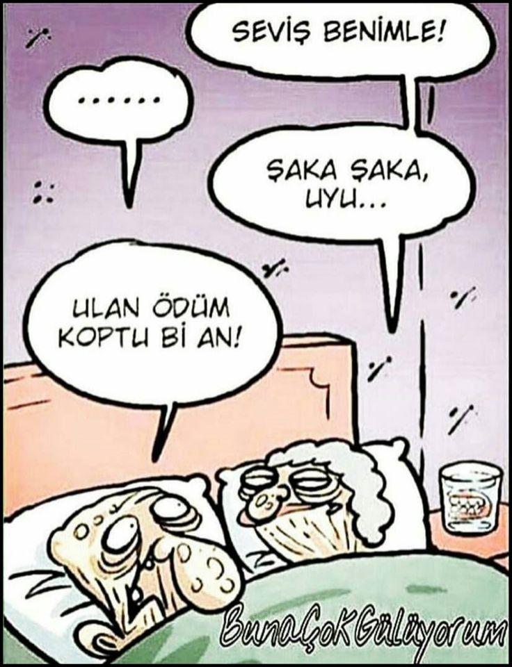 - Seviş benimle! + ...... - Şaka şaka, uyu... + Ulan ödüm koptu bi an! #karikatür #mizah #matrak #komik #espri #şaka #gırgır #komiksözler