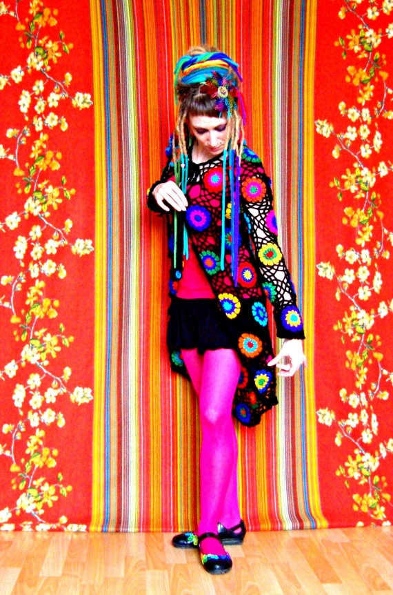 Abstract Pop Art Crochet Cardigan reminds me of a bedspread!